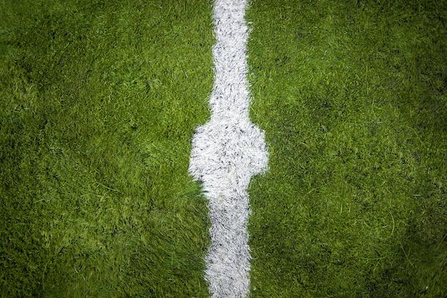 Closeup horizontal shot of marking on center of soccer field Premium Photo