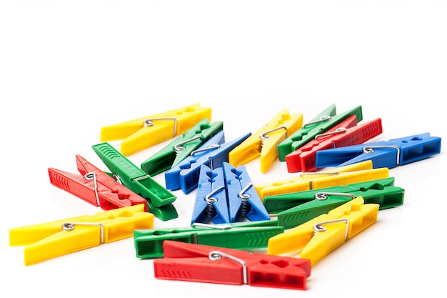 Closeup image of colorful clothespins