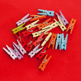 Closeup image of colorful office clothespins