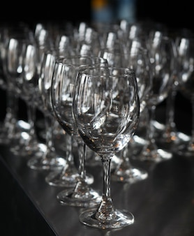 Closeup image of empty stemware