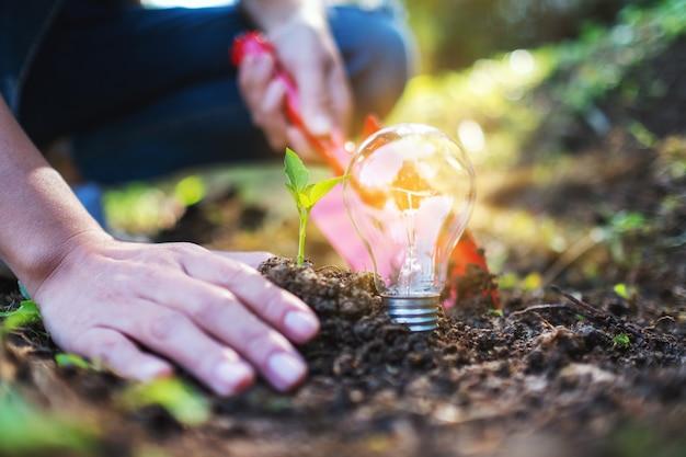 삽을 사용하여 전구가 땅에 빛나는 작은 나무를 심는 여성의 근접 촬영 이미지