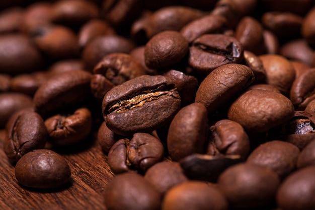 Closeup image of roasted coffee grains