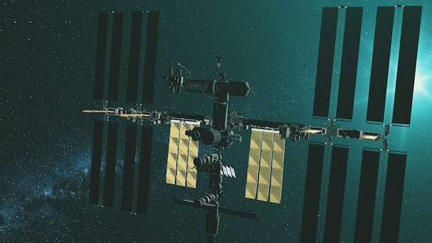 Closeup international space station with yellow solar panels gravity fly at green star light