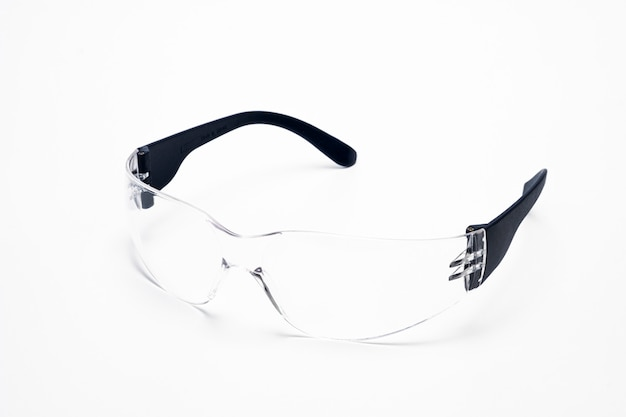 Closeup of isolated safety eye glasses on white