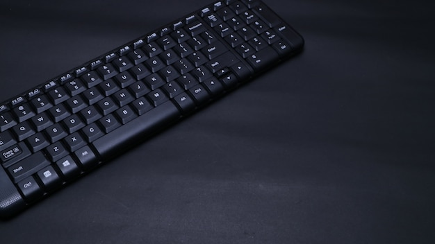 Closeup keyboard on black flat background