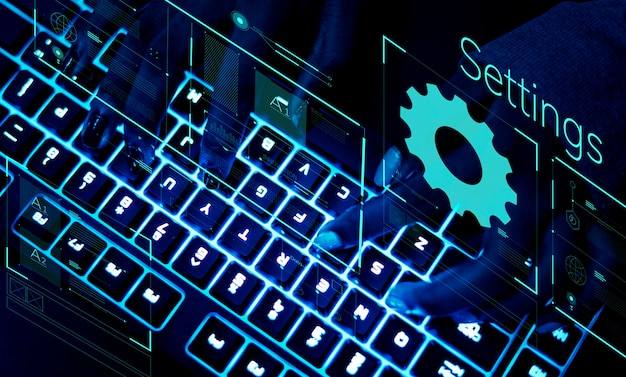 Closeup of a keyboard in ultraviolet light