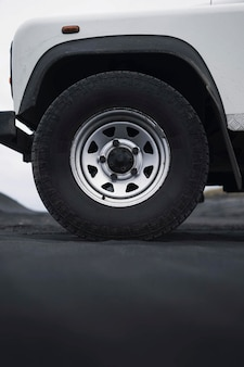 Closeup of land rover's front wheel