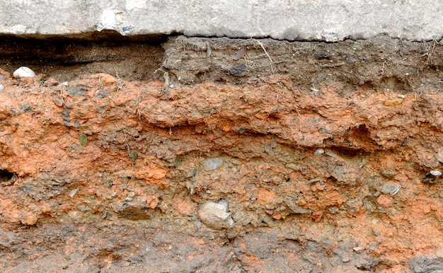 Closeup layers of soil and rock texture