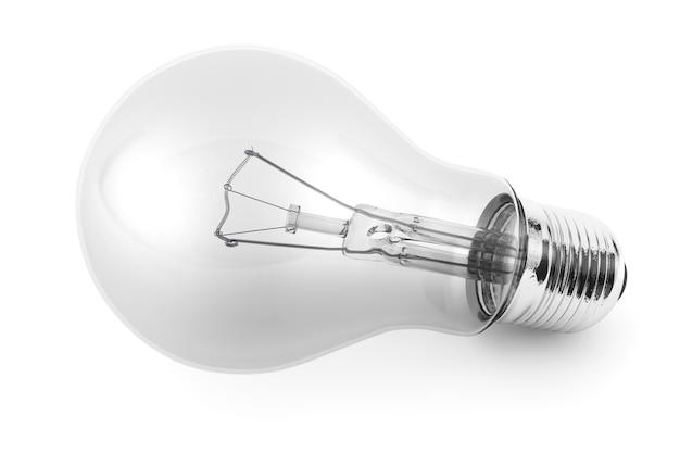 Лампочка крупным планом на белом фоне
