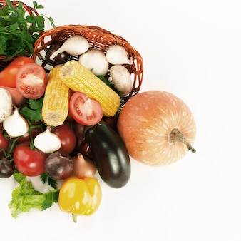 Closeup. a lot of different fresh vegetables.isolated on a white background.