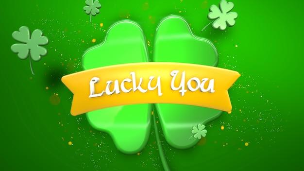 Текст крупным планом lucky you и большие зеленые трилистники с блестками на блестящем фоне дня святого патрика. роскошный и элегантный стиль 3d-иллюстрации для праздничной темы