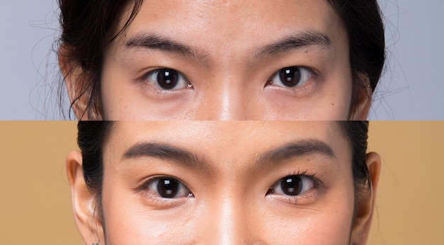 Closeup macro portrait of female eye, human woman open brown eyes with day beauty makeup. girl with perfect acne wart skin and freckles.  before after applying make up hair style