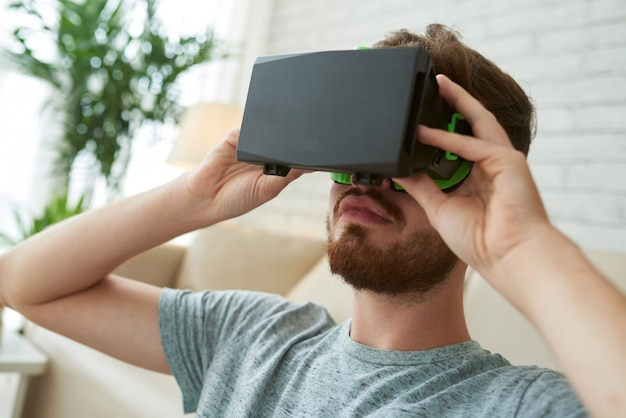 Closeup of male face in vr headset