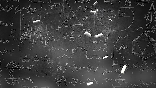 クローズアップ数式と黒板、学校の背景の要素。教育テーマのエレガントで豪華な3dイラスト