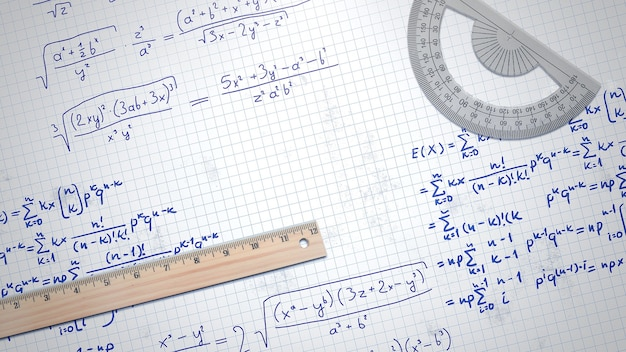 Closeup mathematical formula and elements on paper, school background. elegant and luxury 3d illustration of education theme