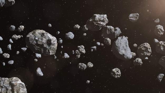 Closeup on meteor lumps in space.