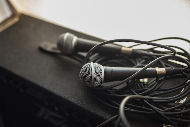 Closeup of microphone in music room