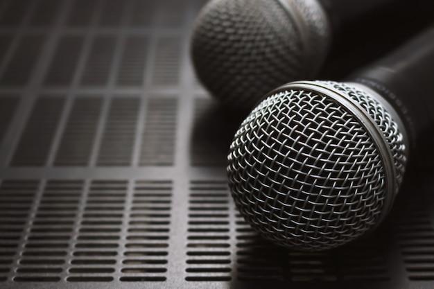 Closeup microphone on the volume control