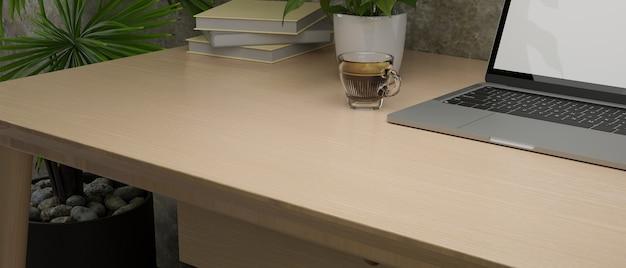 Пространство для макета крупным планом для монтажа дисплея вашего продукта на деревянном столе с 3d-рендерингом ноутбука