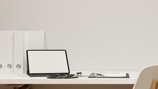 근접 촬영 현대 의사 사무실 책상 태블릿 빈 화면 이랑 청진 기 클립보드 3d 렌더링