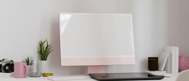 Closeup modern feminine workspace interior with pink computer blank screen mockup stylus and decor