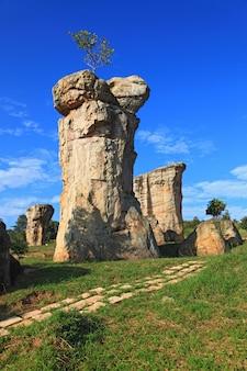 Closeup of mor hin khao, thailand stonehenge