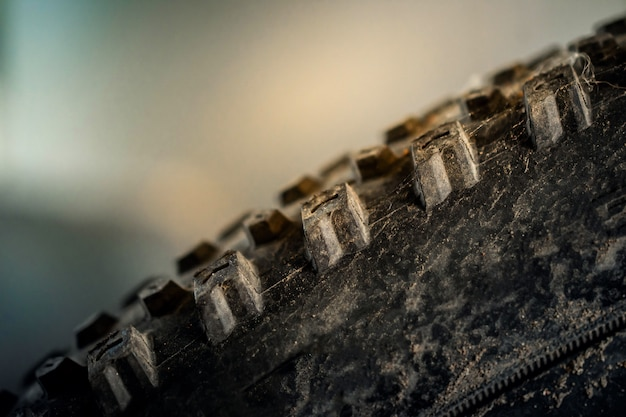 Closeup of mountain bike tire. parts of bicycle