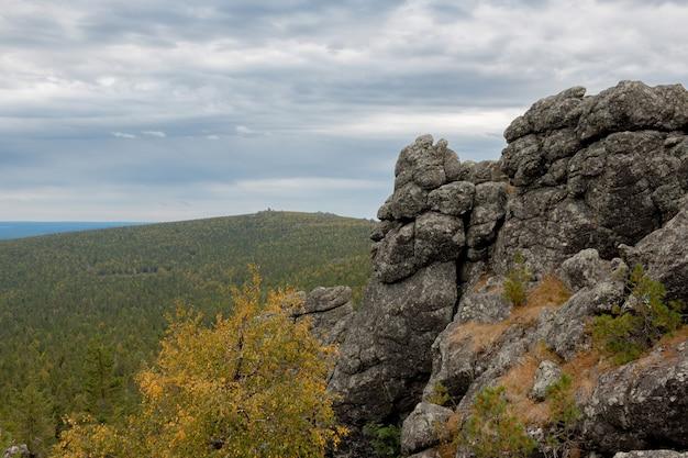 国立公園カチカナル、ロシア、ヨーロッパのクローズアップ山のシーン。曇りの天気、劇的な青い空、遠くの緑の木々