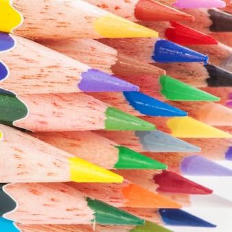 Closeup multicolor pencil arangement