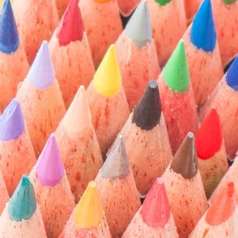Closeup multicolor pencil