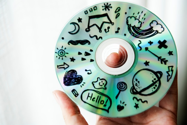 Closeup of music cd disc