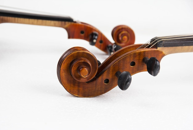 Closeup the neck of violin