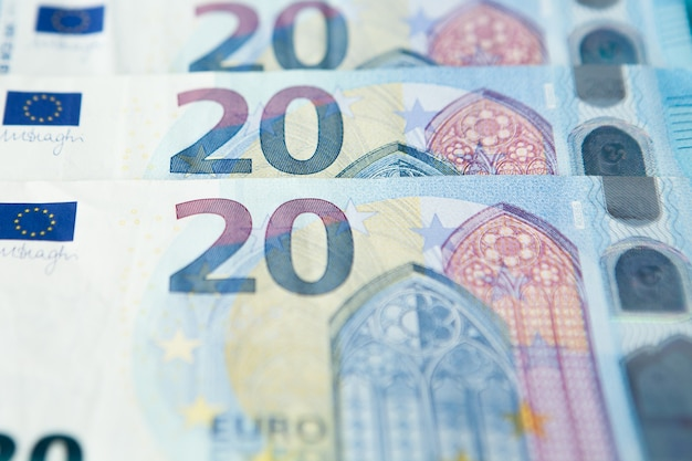 Closeup of new banknote of twenty euros background.