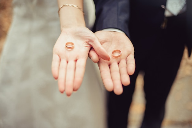 Closeup newly weds show their wedding rings