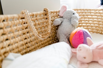 Closeup of a baby basket and toys