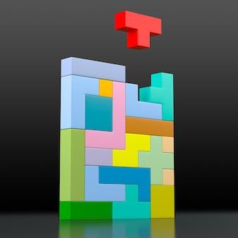 Крупный план цветной головоломки из блоков разной формы и цвета. 3d-рендеринг