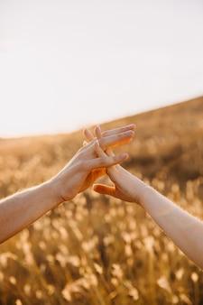 日没時のフィールドで、手をつないでカップルのクローズアップ。