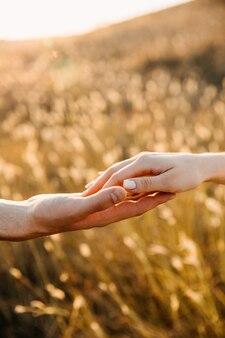 日没時のフィールドで、手に触れるカップルのクローズアップ。