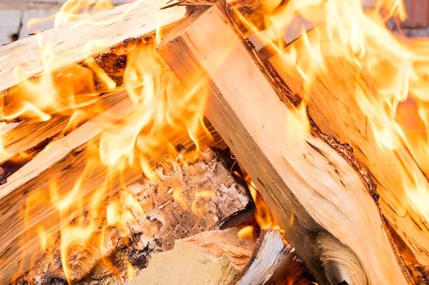 ピクニックでの炎のクローズアップ
