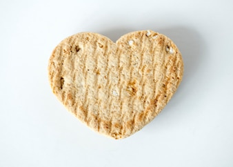 Closeup of a heart shaped cookie