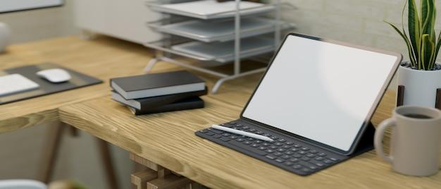 나무 테이블 3d 렌더링에 태블릿 화면이 있는 현대적인 워크 스테이션 내부의 클로즈업
