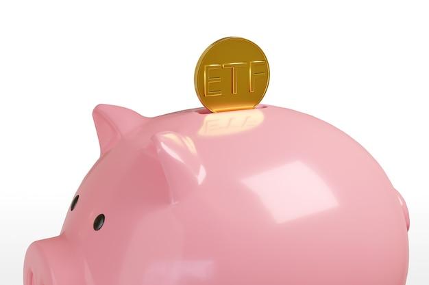 「etf」というテキストのコインが入った貯金箱のクローズアップ。