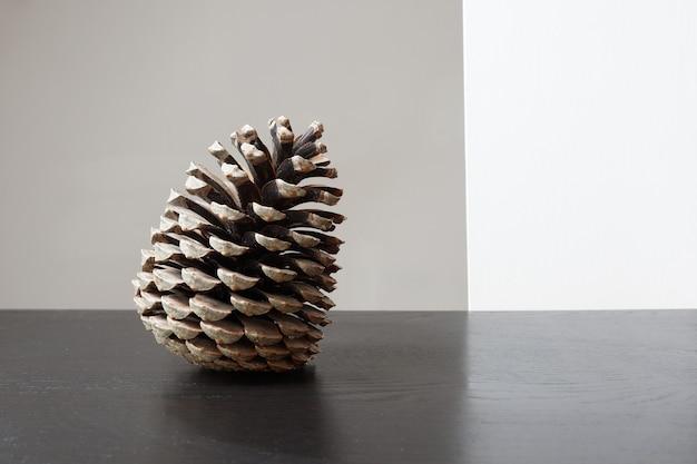 테이블에 pinecone의 근접 촬영