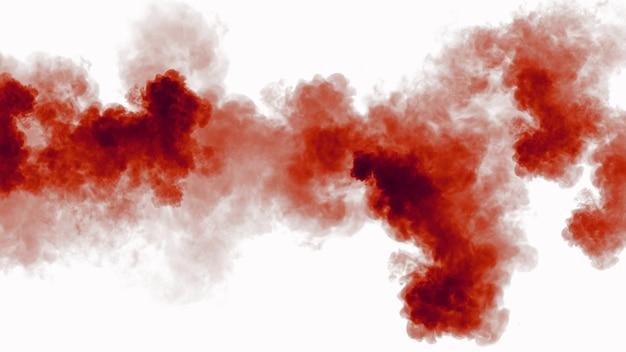 Крупным планом красные акриловые чернила в воде, изолированные на белом фоне