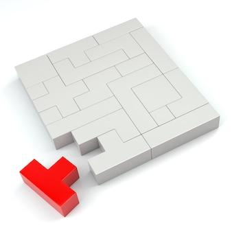 Крупный план красной головоломки из блоков разной формы и цвета. 3d-рендеринг