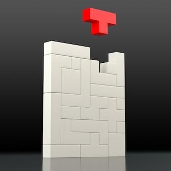 Крупный план белой головоломки из блоков разной формы и цвета. 3d-рендеринг