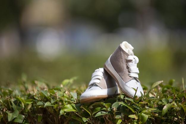 日光の下で芝生の上の赤ちゃんのスニーカーのクローズアップ