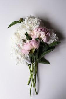 Крупным планом красивый розовый и белый цветок пион на светлом столе