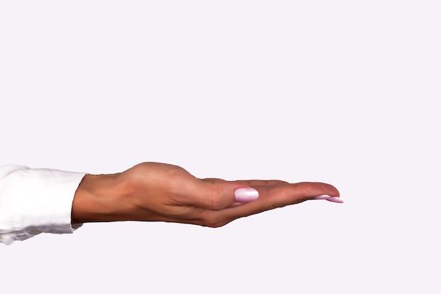 白い背景で隔離の美しい女性の手のクローズアップパームアップ