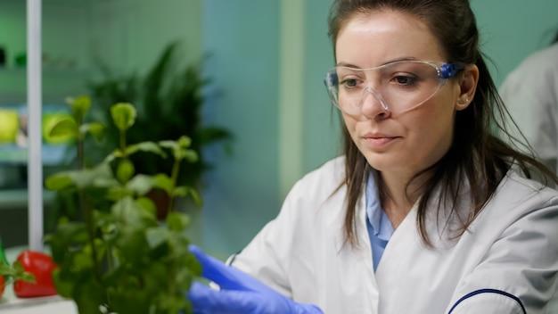 農業実験のために苗木をチェックしている植物学者の女性のクローズアップ
